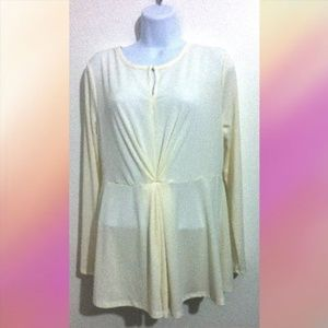 Women Blouse Tunic Top Size L Cream